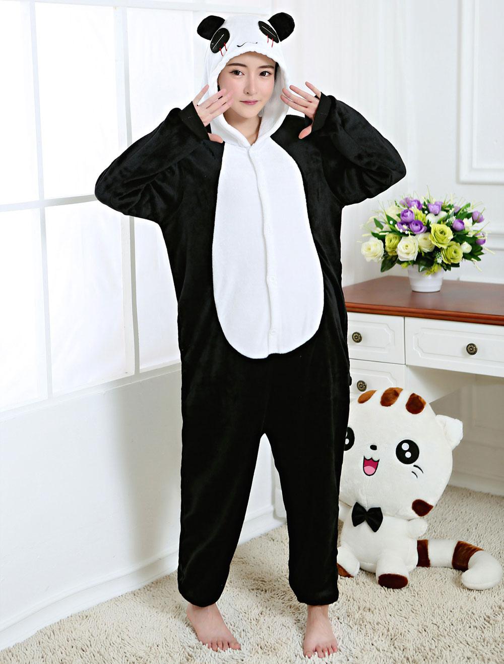 1b0f449ebccd Kigurumi Pajama Panda Onesie Black Flannel Animal Sleepwear For Adult Back  With Zipper Halloween-No ...