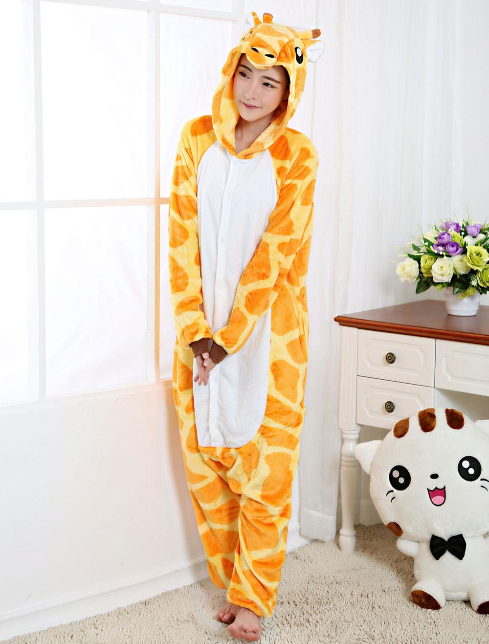 ... Кигуруми Пижама Жираф Онеси Желтый фланель животных Sleepwear для  взрослых Хэллоуин-No.4 ... 7cdb7ce4073a7