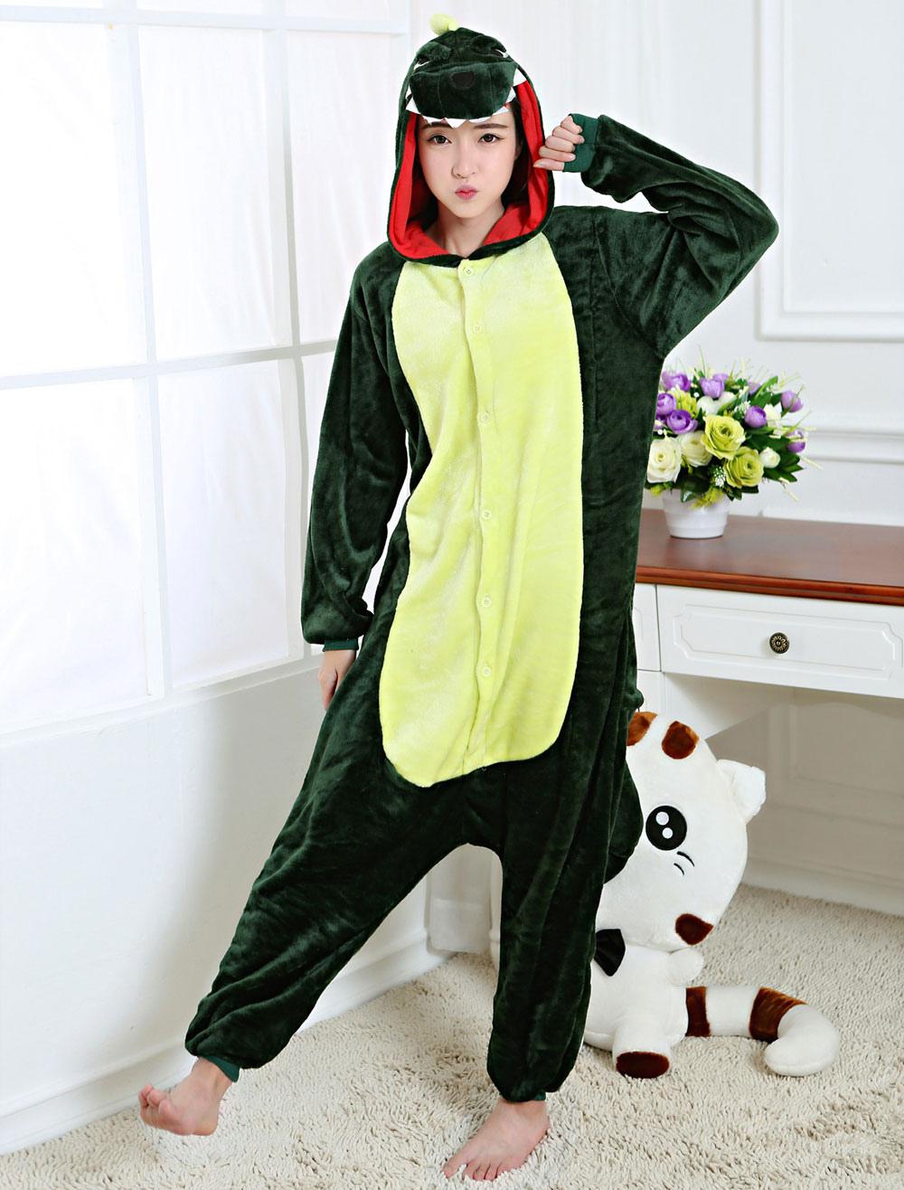 d7219ccd3c ... Kigurumi Pajama Dinosaur Onesie Green Flannel Animal Sleepwear For Adult  Back With Zipper Halloween-No ...