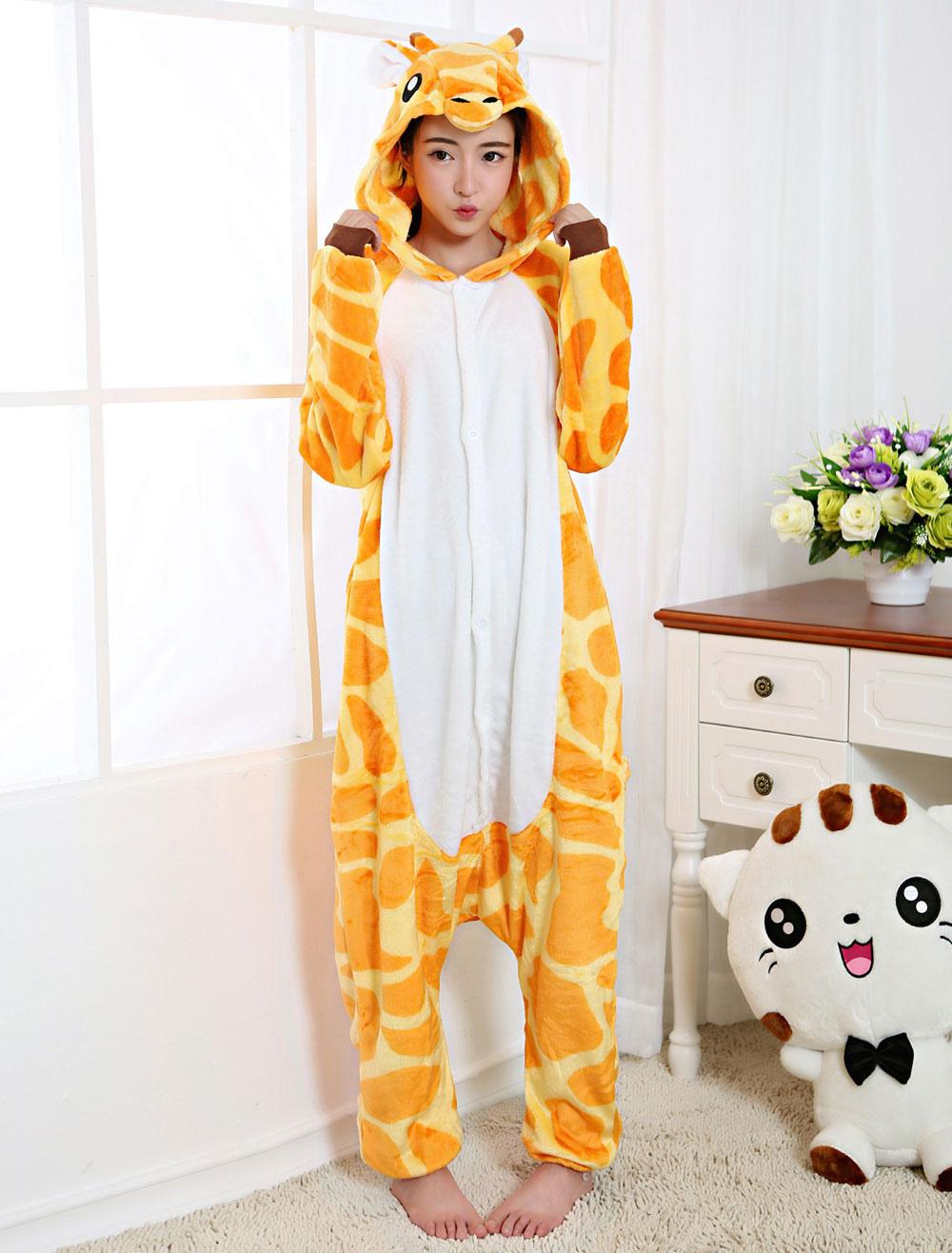 7d08a7341fad Kigurumi Pajama Giraffe Onesie Yellow Flannel Animal Sleepwear For Adult  Back With Zipper Halloween-No ...