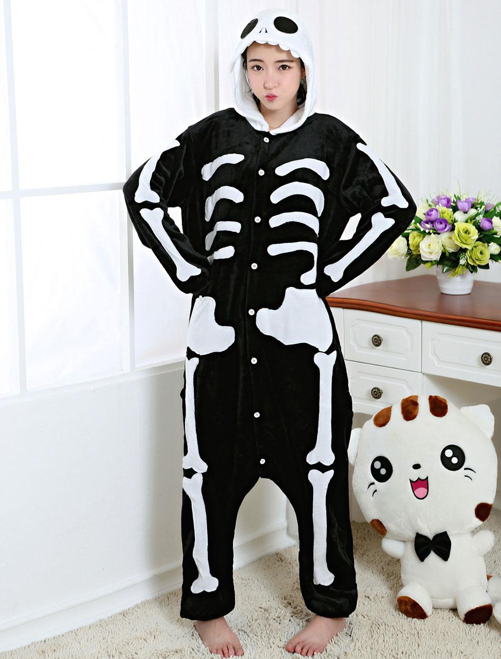 Kigurumi Pajama Skeleton Onesie Black Flannel Sleepwear For Adult Back With Zipper Halloween
