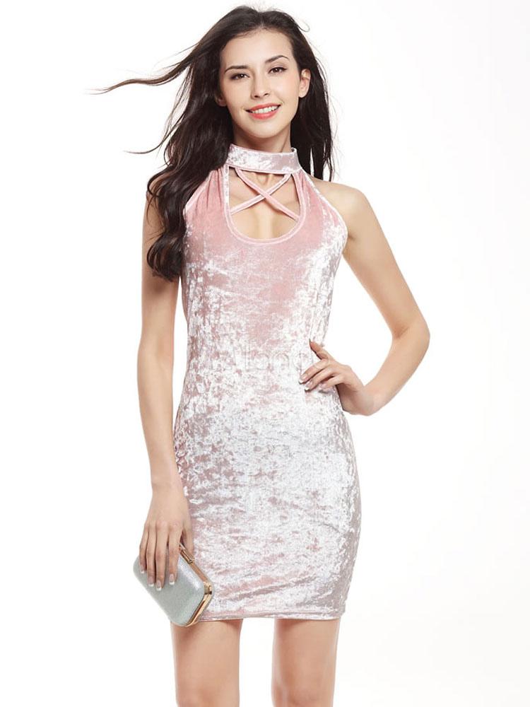 Bodycon Velvet Dress Pink Stand Collar Sleeveless Criss Cross Slim Fit Bodycon Choker Dress For Women