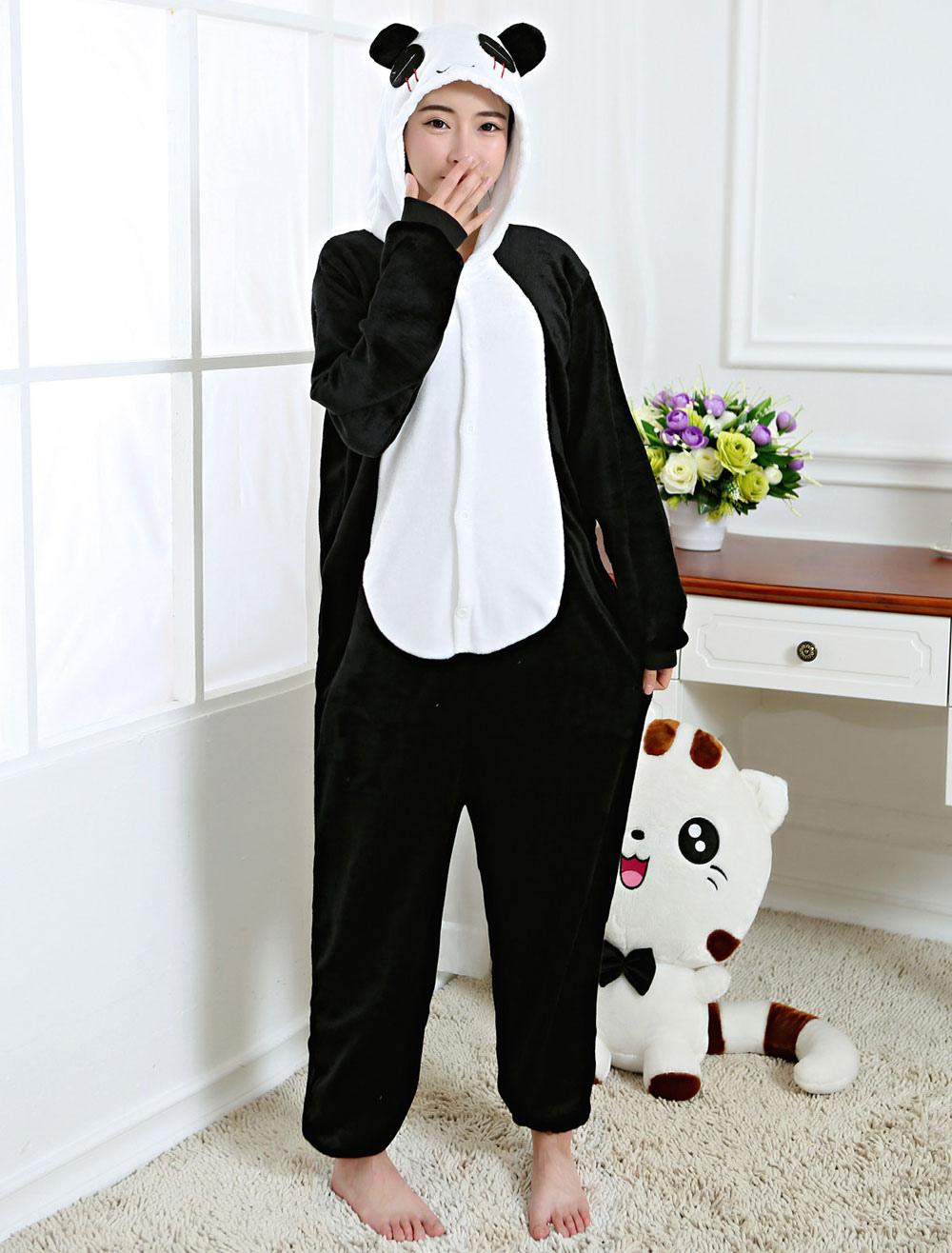 2019 real guetter élégant et gracieux Kigurumi Pyjama Panda Onesie noir flanelle animaux vêtements de nuit pour  adulte retour avec fermeture à glissière Halloween