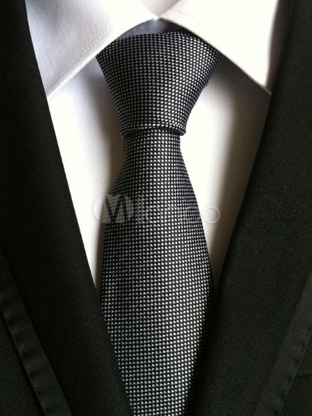 Buy Black Ties Men's Polyester Chic Plaid Neck Tie for $5.69 in Milanoo store