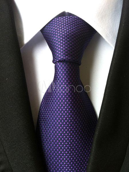 Purple Men's Tie Polyester Checkered Neck Ties
