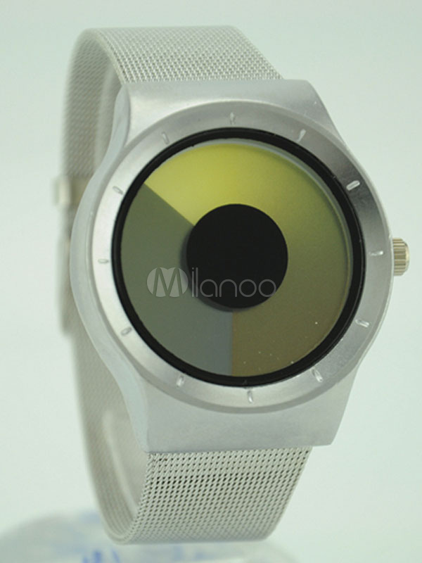 Men's LED Watch Round Simple Style Dial Alloy Band Color Block Analog Fashion Watch