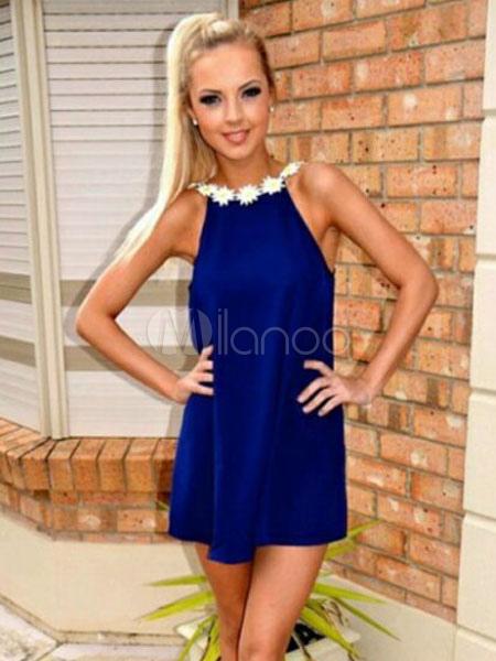 Women's Summer Dress Chiffon Deep Blue Round Neck Sleeveless Backless Flowers Beaded Short Dress