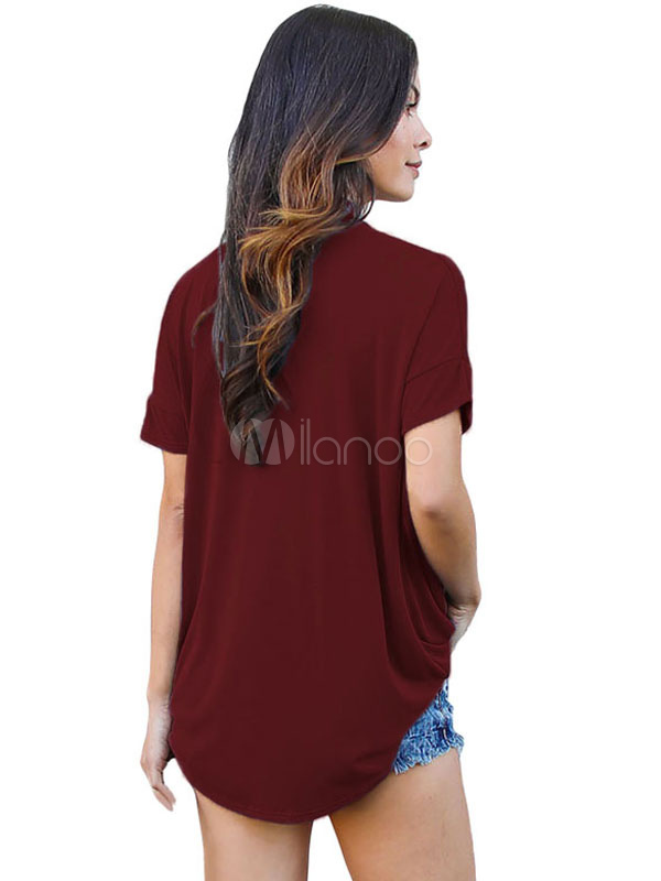 325667f3 Burgundy Choker T Shirts V Neck Women's Short Sleeve Summer Tee Shirt ...