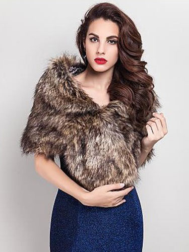 Buy Tan Wedding Shrug Faux Fur Stole Fluffy Bridal Wrap Shawl for $19.94 in Milanoo store