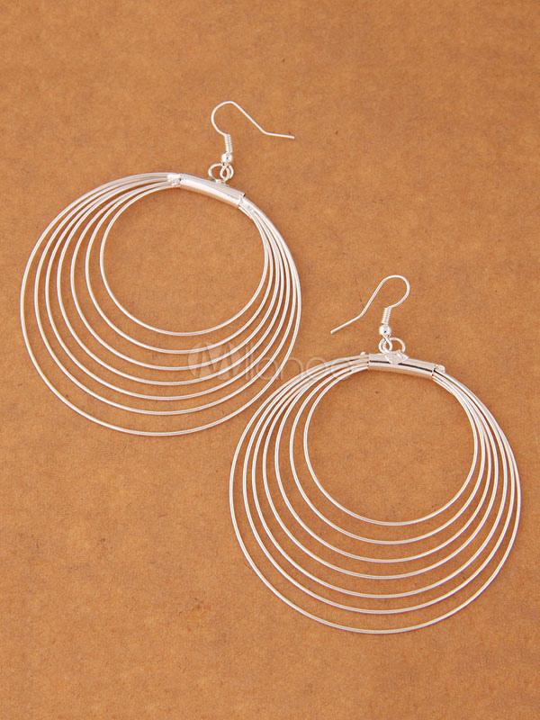 Buy Silver Hook Earrings Circles Alloy Statement Earrings for $3.39 in Milanoo store