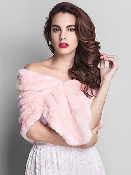 Pink Wedding Shrug Faux Fur Stole Fluffy Bridal Wrap Shawl