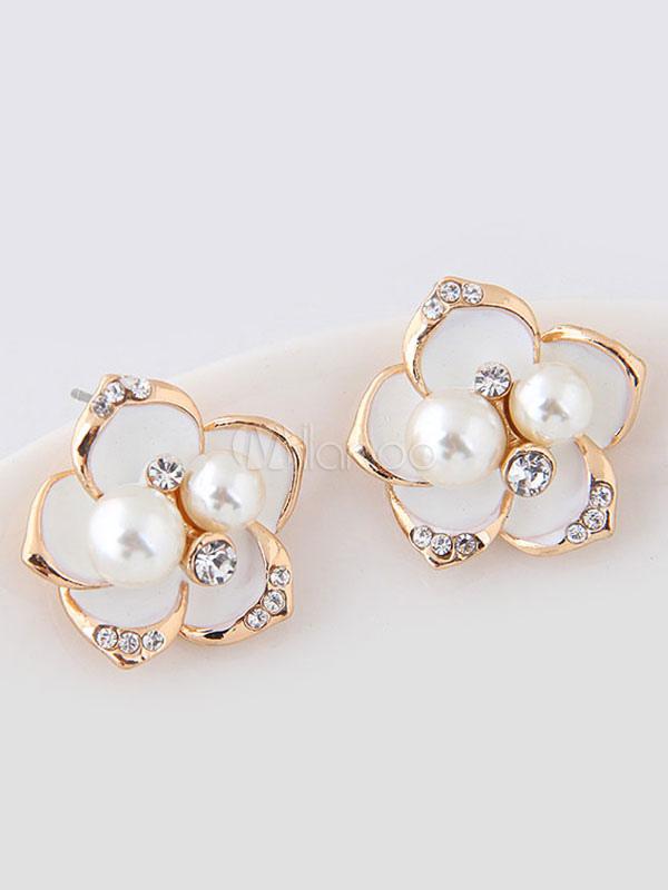 White Stud Earrings Elegant Pearls Beaded Pierced Earrings For Women