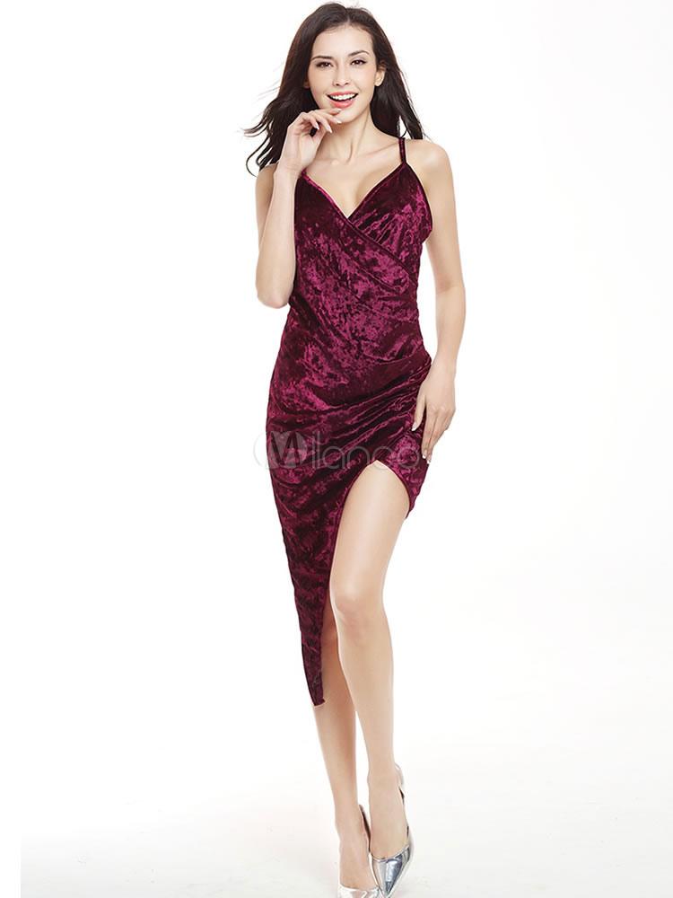 Buy Sexy Bodycon Dress Velvet Burgundy Strappy Sleeveless Pleated Irregular Sheath Dress for $13.99 in Milanoo store
