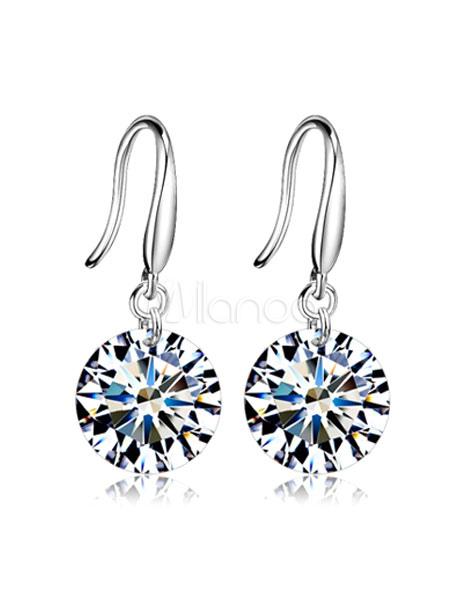 Silver Drop Earrings Rhinestones Simple Style Alloy Hook Earrings
