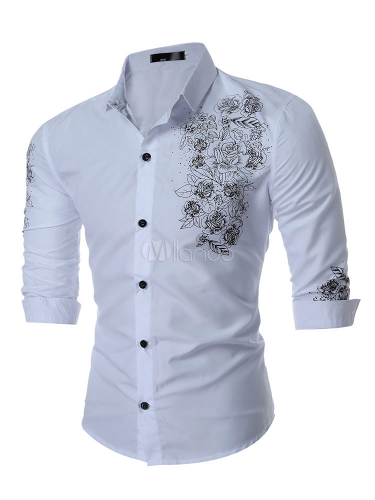 Men'S Cotton Shirt Turndown Collar Long Sleeve Printed Casual Shirt