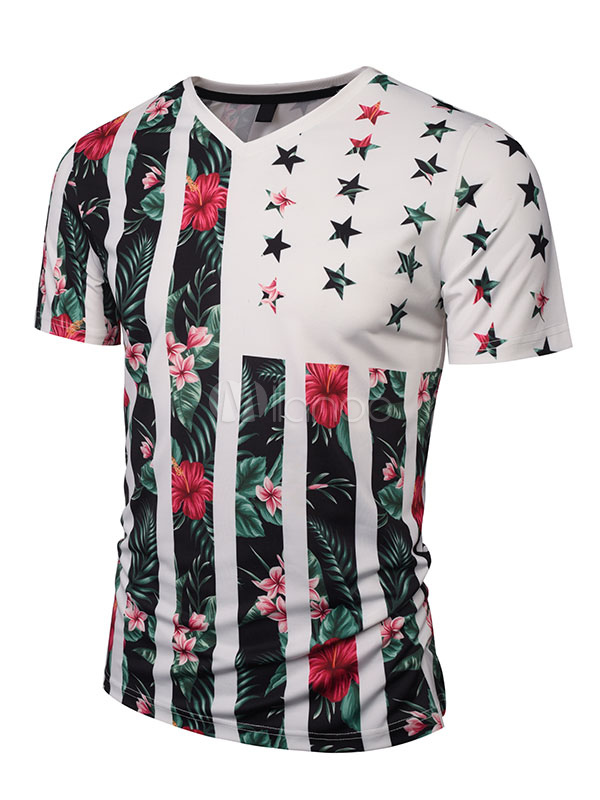 Men's White T Shirt V Neck Short Sleeve Stars And Stripes Pattern Floral Printed Casual Top