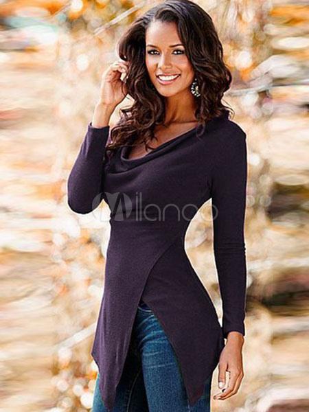 Buy Burgundy T Shirt Long Sleeve Cowl Neck Split Asymmetrical Women's T Shirts for $16.79 in Milanoo store