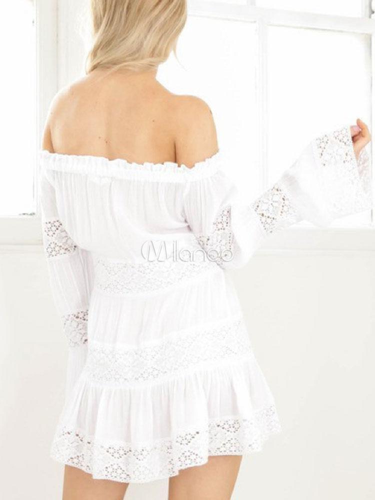 fd7087a9bd5 White Mini Dress Ruffles Off The Shoulder Lace Patchwork Women Summer Short  Dress