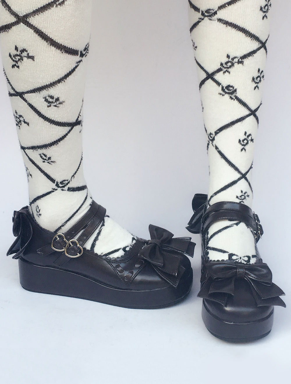 Lolita Wedge Shoes Double Strap Bow Sweet Lolita Shoes