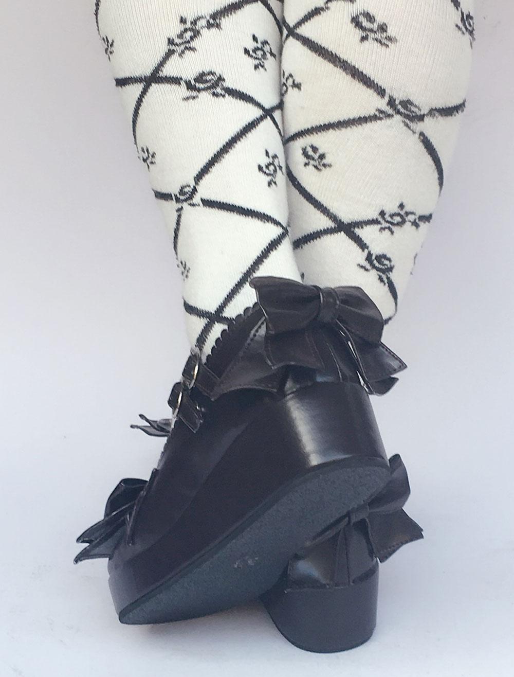 Zapatos de lolita de PU de puntera redonda con lazo de azul francia 6HR1tL