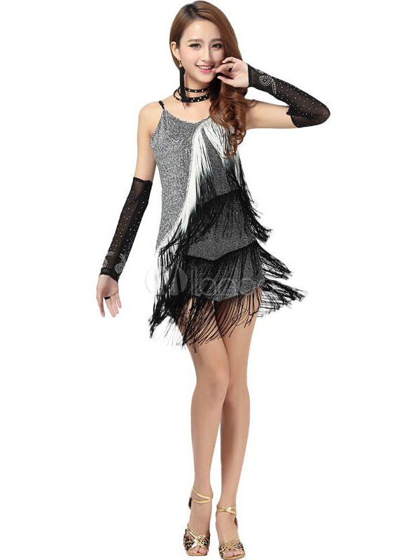 Latin Dance Costume Womens Black Sequined Fringe Dress With Gloves