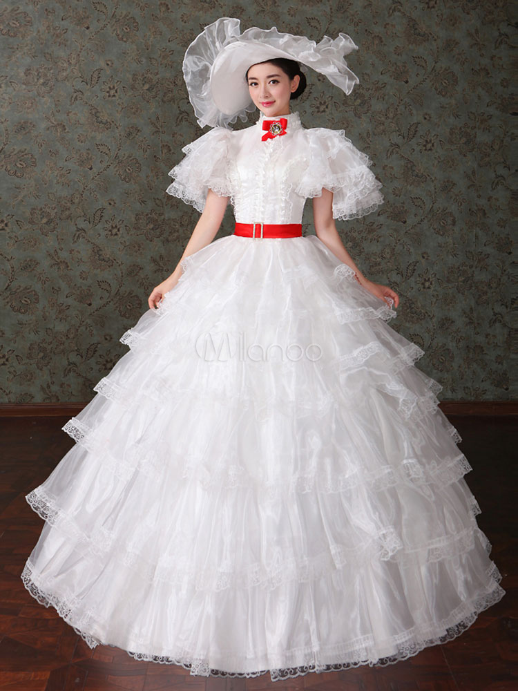 Women's Vintage Costume Victorian Ball Gown White Tulle Dress Retro Costume Halloween