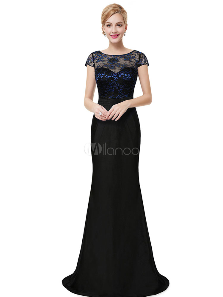 Satin Evening Dress Lace Illusion Mother's Dress Dark Navy Jewel Short Sleeve Floor Length Wedding Guest Dresses