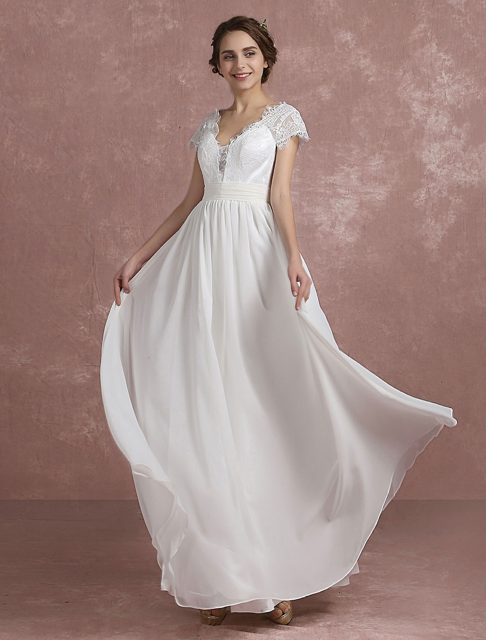 Summer Wedding Dresses 2020 Beach Lace Chiffon