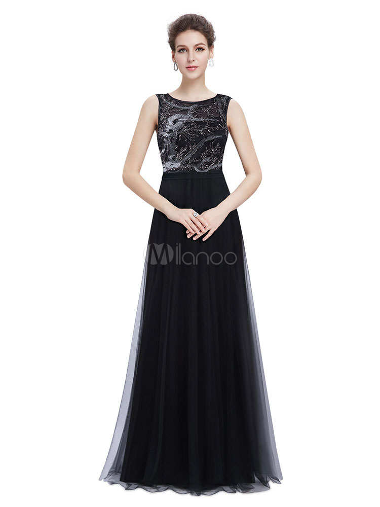 Buy Tulle Mother Of The Bride Dress Illusion Beaded Evening Dress Black Sleeveless A Line Floor Length Wedding Guest Dresses for $83.59 in Milanoo store