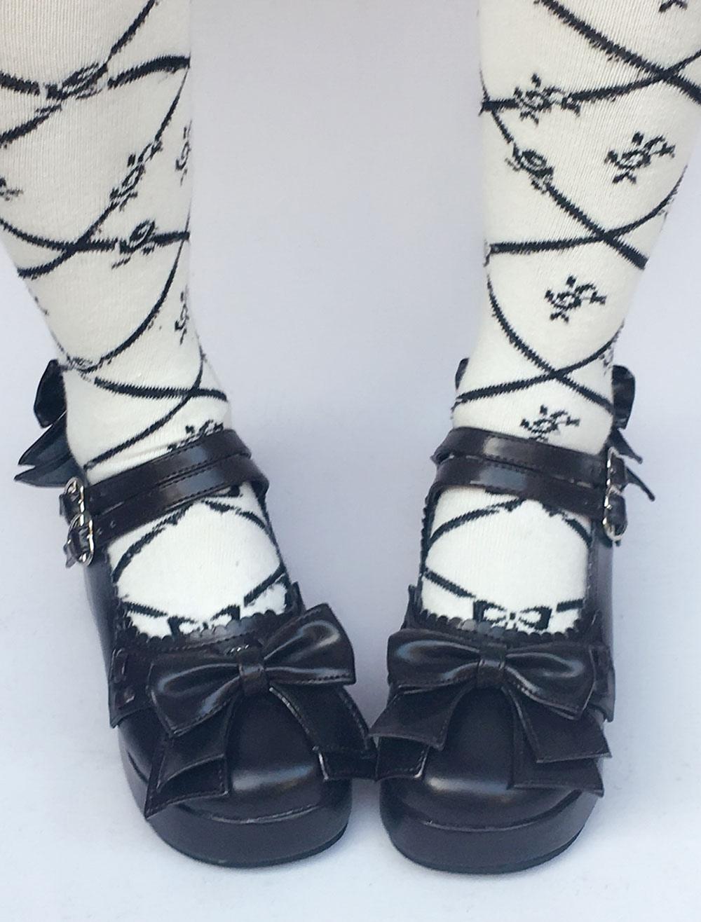 Zapatos de lolita de PU de puntera redonda con lazo de azul francia huj5fd3rSX