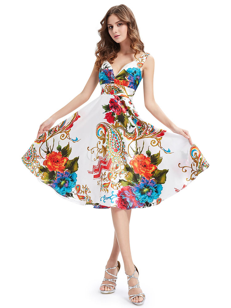 Buy Short Prom Dresses 2018 African Print Prom Dress Backless Floral Print V Neck Sleeveless A Line Knee Length Cocktail Dress for $83.59 in Milanoo store