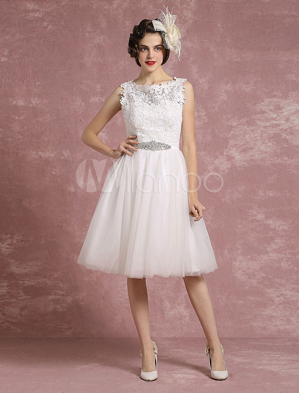 Vintage Hochzeit Kleid Spitze Illusion Kurze Brautkleid Tull