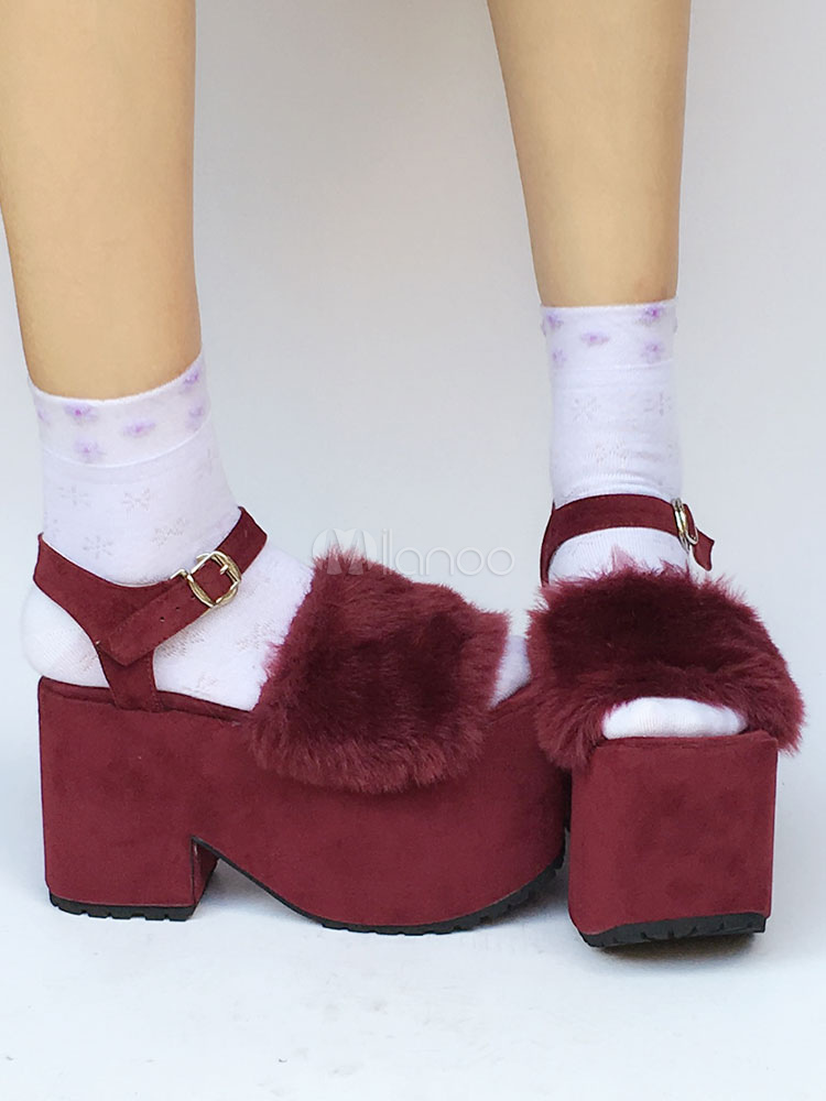 Burgundy Lolita Shoes Suede Platform Ankle Strap Open Toe Sweet Lolita Shoes With Fur