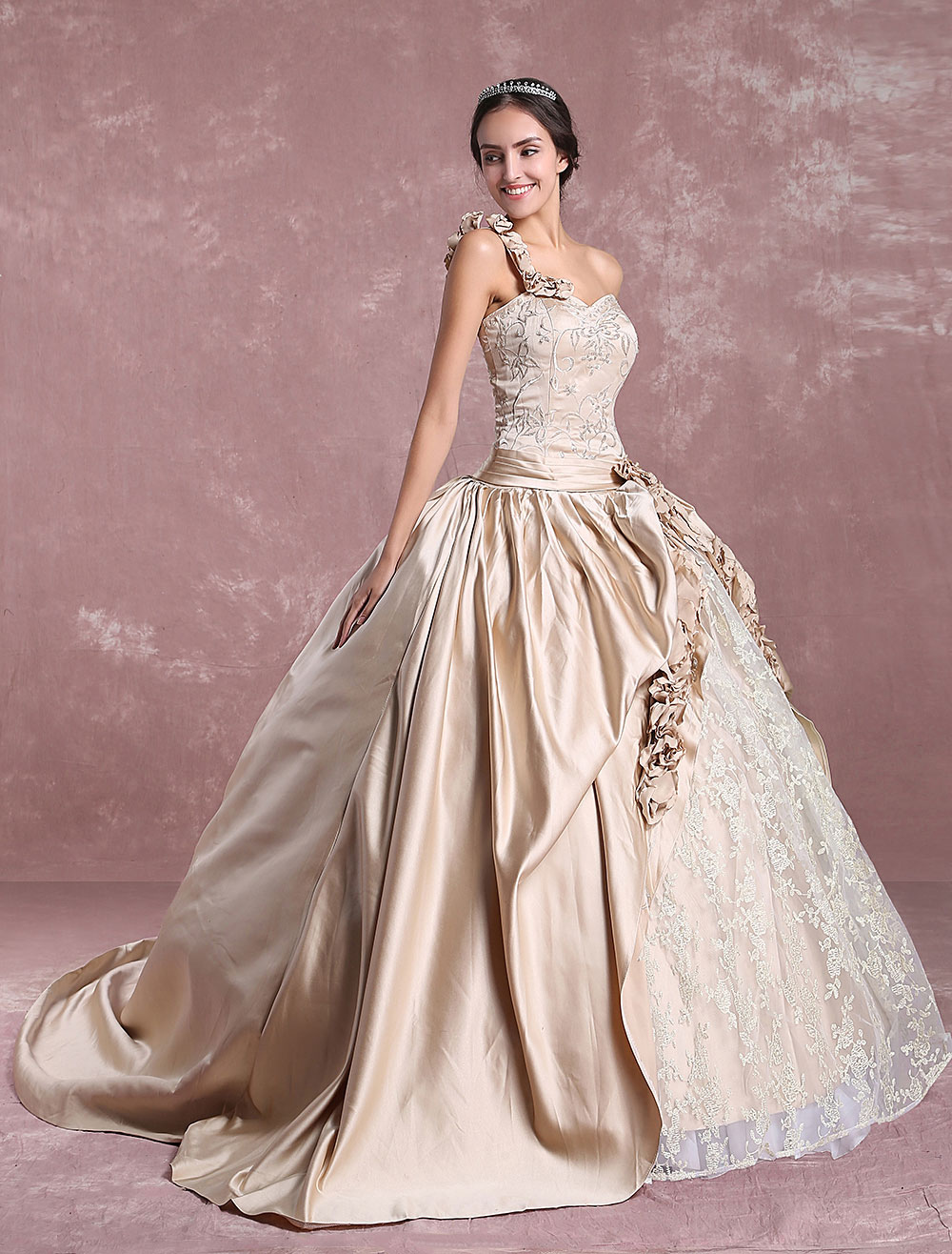 Princess Wedding Dresses Champagne Victoria Bridal Gown One Shoulder Lace Embroidered Satin No