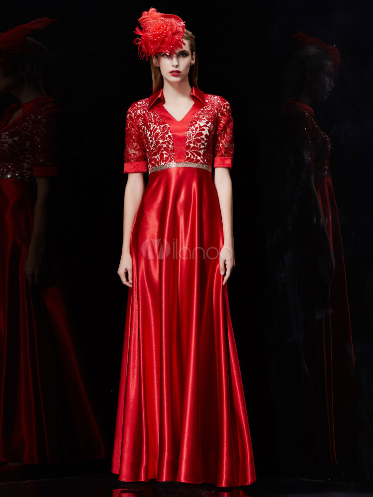 Buy Satin Evening Dress Red Sequin Mother Of The Bride Dress V Neck Half Sleeve A Line Pleated Floor Length Wedding Guest Dresses for $184.79 in Milanoo store