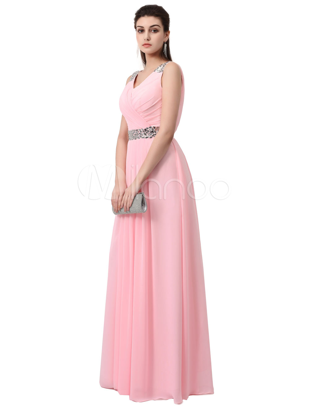 Buy Blush Prom Dress Long Bridesmaid Dress Soft Pink Chiffon Rhinestone Lace Back A Line Floor Length Party Dress for $152.99 in Milanoo store