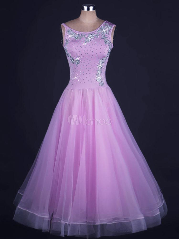 Vestido de baile de salón de cristal de organza Bailarín de salón de ...