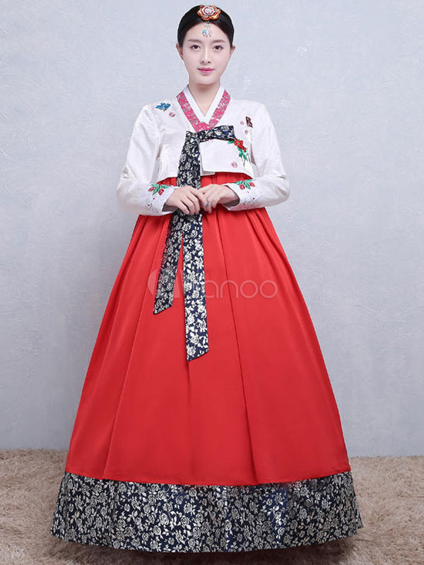 Buy Halloween Korean Costume Women's Satin Color Block Printed A Line Maxi Dress Traditional Hanbok Costume Set for $64.59 in Milanoo store