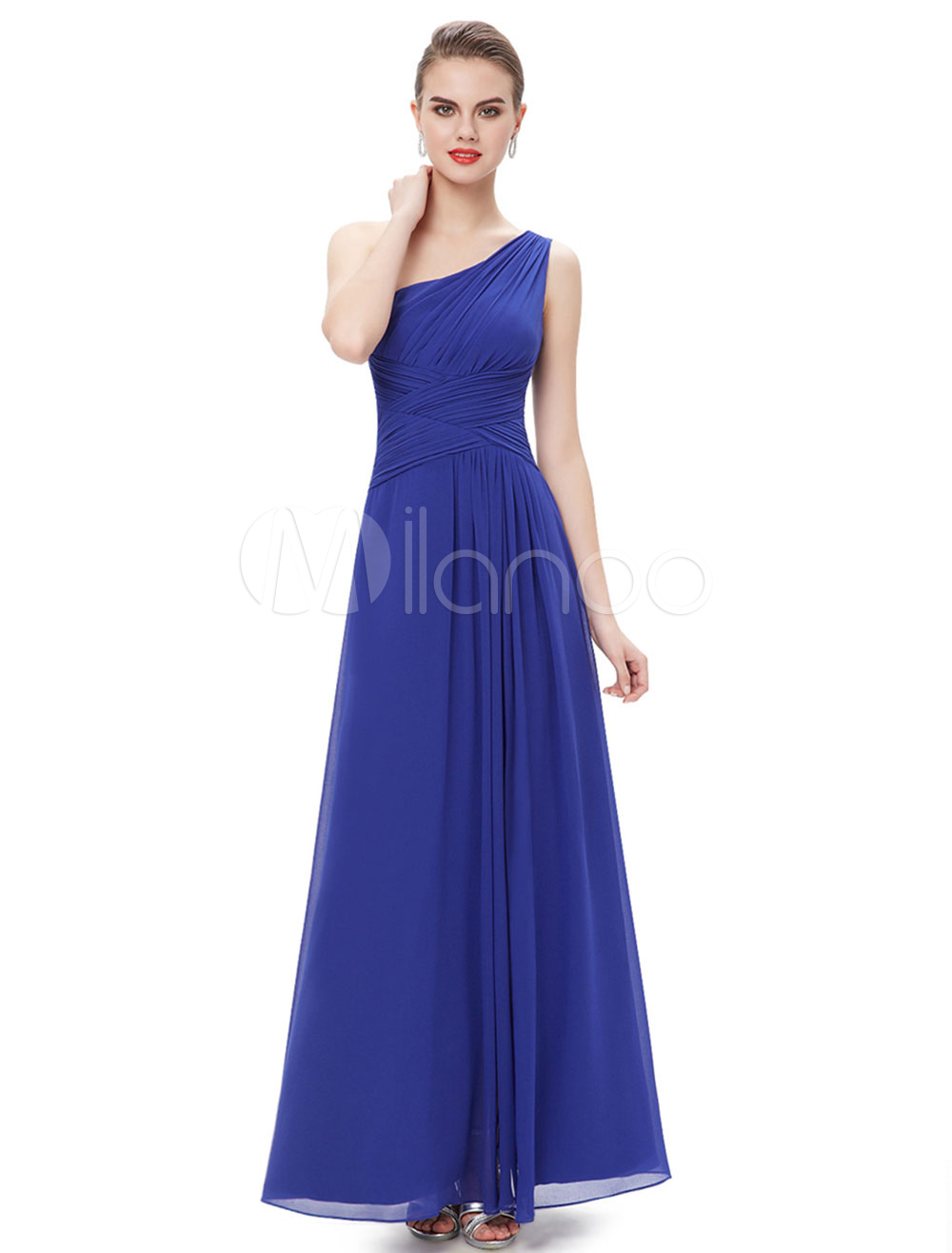 Buy Chiffon Evening Dress Dazzling Blue One Shoulder Mother Of The Bride Dress High Split Pleated Floor Length Wedding Guest Dresses for $101.19 in Milanoo store