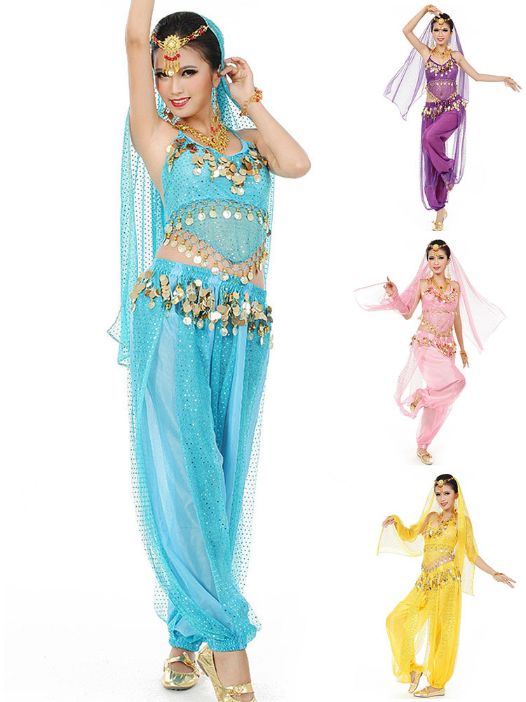 Belly Dance Costume Blue Chiffon Bollywood Dance Dress With Veil For Women