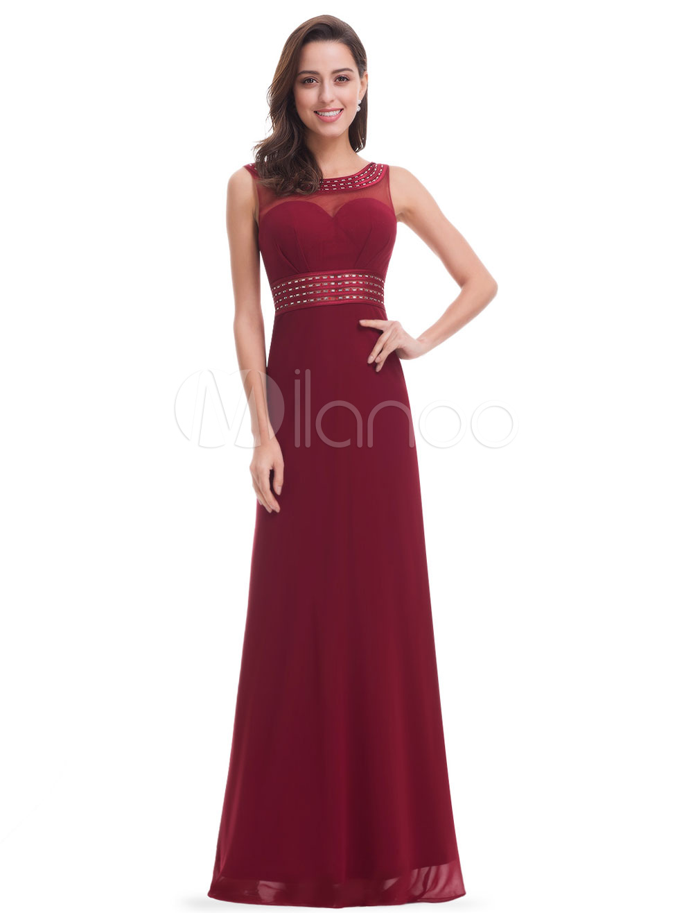 Burgundy Mother's Dress Chiffon Mermaid Beading Formal Evening Dress Illusion Sweetheart Sleeveless Floor Length Wedding Guest Dresses