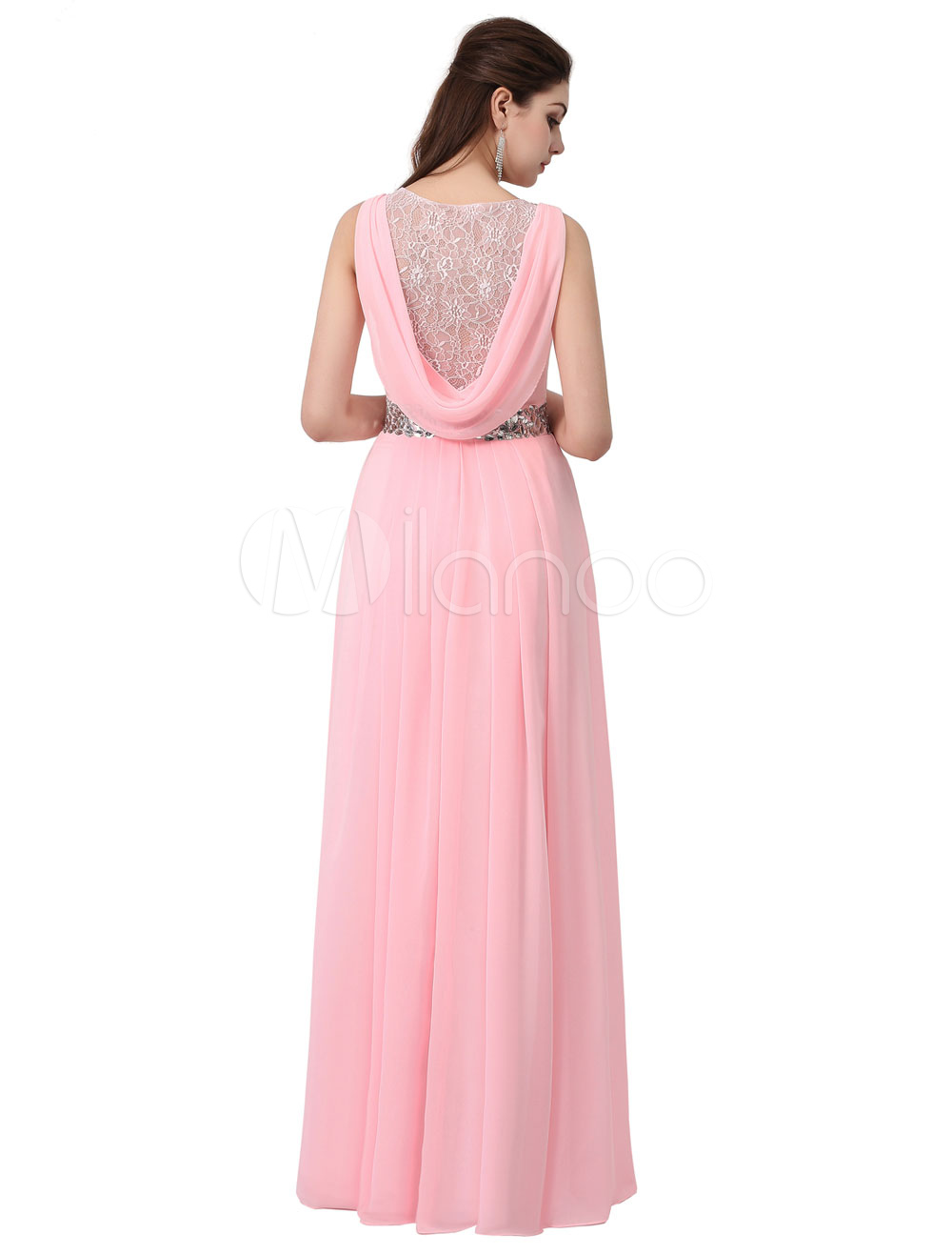 2d06f3a439b4c ... Blush Prom Dress Long Bridesmaid Dress Soft Pink Chiffon Rhinestone  Lace Back A Line Floor Length ...