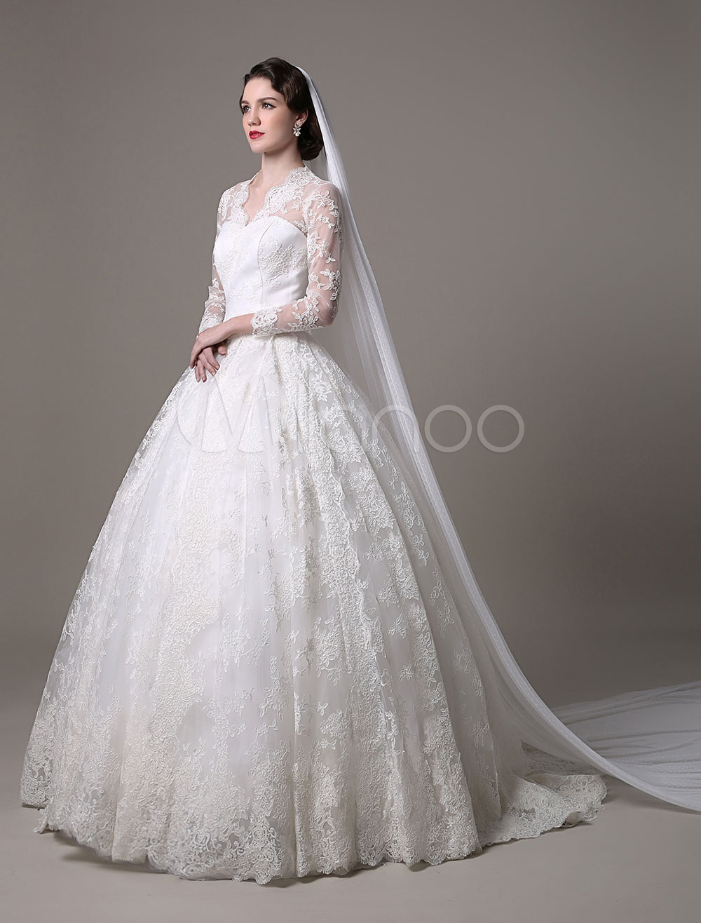 Kate Middleton Royal Wedding Dress Vintage Lace With V-Neck And Long ...