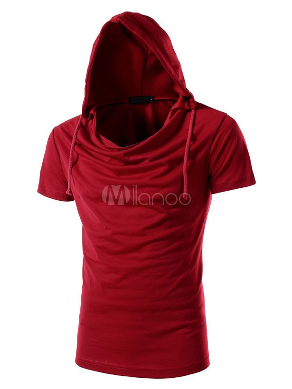 Black Men T Shirt Hooded Ruched Short Sleeve Casual T