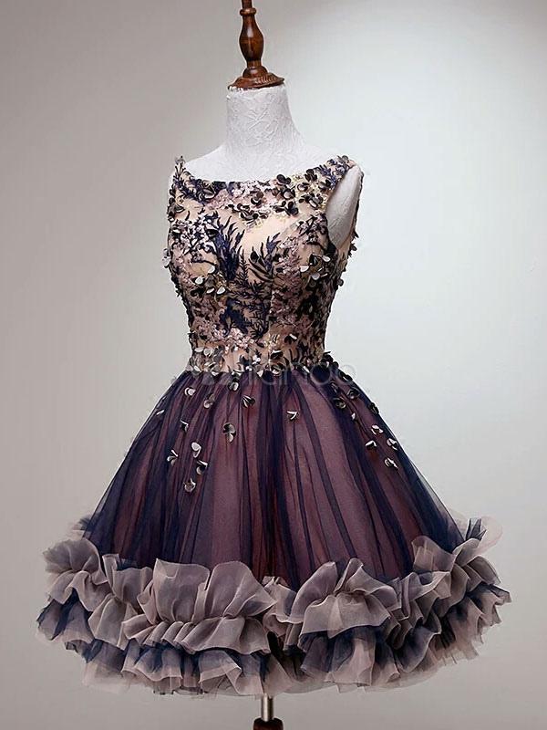 e0bf1d55574 ... Tulle Prom Dress Lace 3D Flower Short Cocktail Dress Bateau Sleeveless  Ruffle Homecoming Dress-No ...