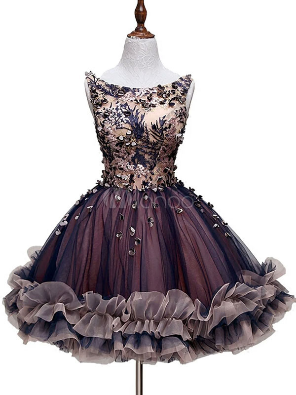 Buy Tulle Prom Dress Lace 3D Flower Short Cocktail Dress Bateau Sleeveless Ruffle Homecoming Dress for $123.19 in Milanoo store