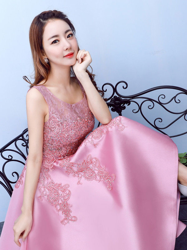aeca49d3c4f ... Lace Prom Dress Fuchsia Pink High Low Homecoming Dress Applique Beading  A Line Scoop Neckline Graduation ...