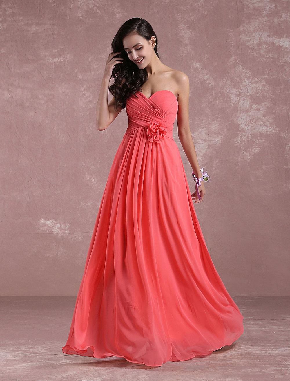 fabbricazione abile rivenditore di vendita più colori Damigella d'onore Chiffon Prom abito corallo fiore senza spalline A linea  pavimento lunghezza partito vestito innamorato