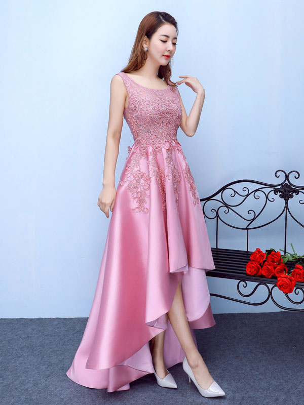 629cebba0e1 ... Lace Prom Dress Fuchsia Pink High Low Homecoming Dress Applique Beading A  Line Scoop Neckline Graduation ...