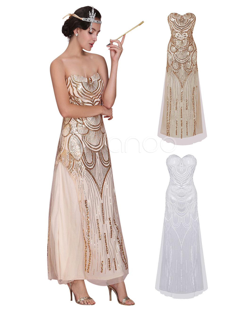 Great Gatsby Flapper Dress 1920s Vintage Costume Women\'s Sequined ...